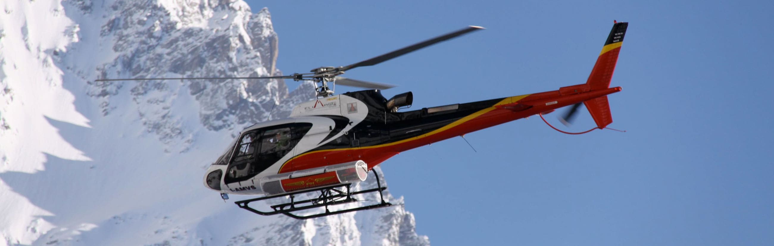 Helicopter for Hiking in the Alps