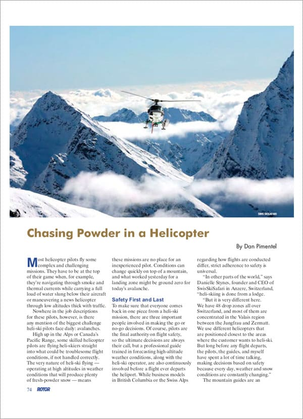 ROTOR MAGAZINE - Chansing Powder on a Helicopter