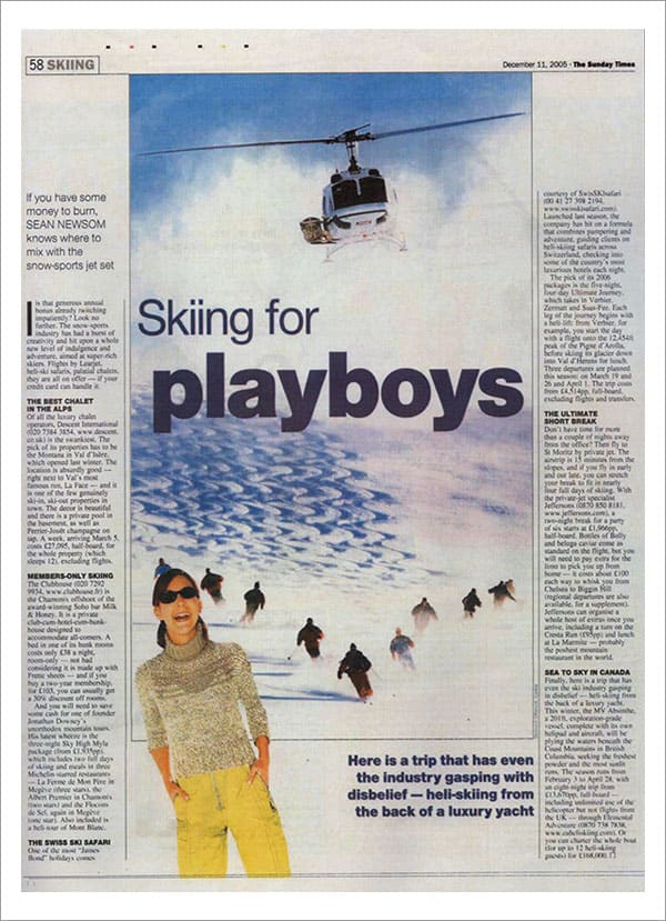 THE SUNDAY TIMES - Skiing for Playboys
