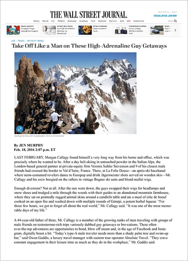 THE WALL STREET JOURNAL - Take Off Like a Man on These High-Adrenaline Guy Getaway