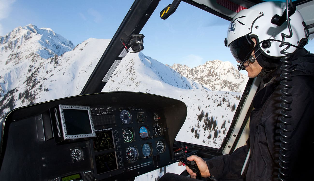 Helicopter for Skiing in the Alps
