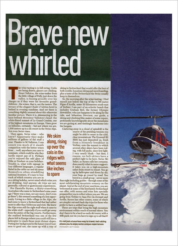 HERALD MAGAZINE UK - Heli-skiing for Softies
