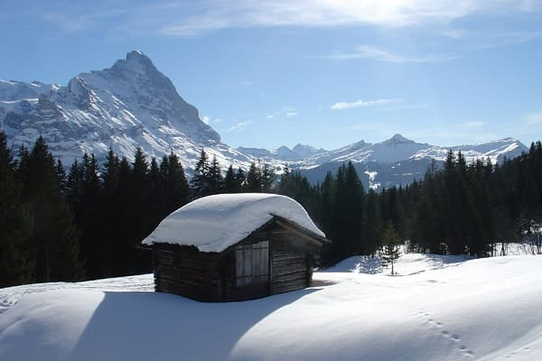 Snow laden hut